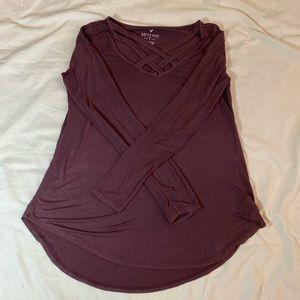 American Eagle Women's Burgundy Long Sleeve
